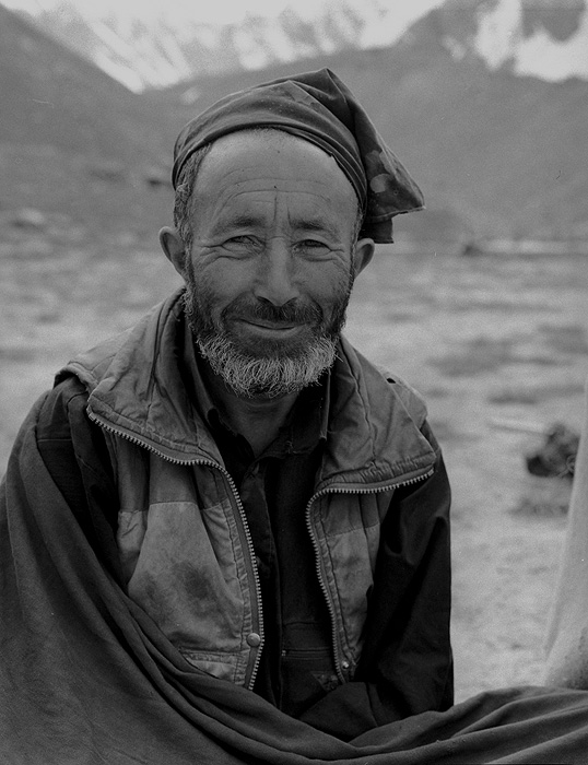 Portrait of a Balti porter on the Gondokoro glacier during an expedition to Gondoro Peak. Little Mammat was the Hushe village tailor.Bronica ETRSi, 70mm, Ilford FP4