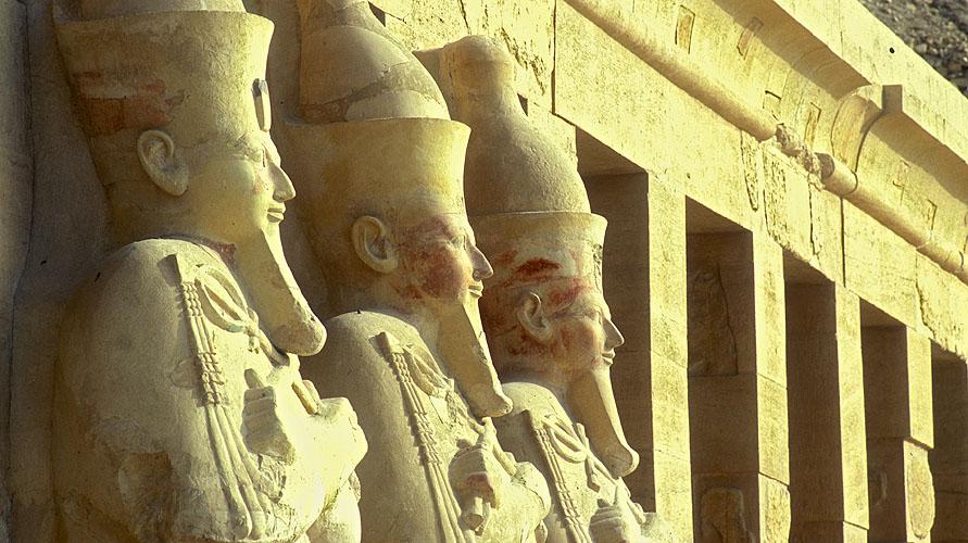 Statues of Osiris on the upper tierNikon F5, 180mm, Fuji Velvia 100