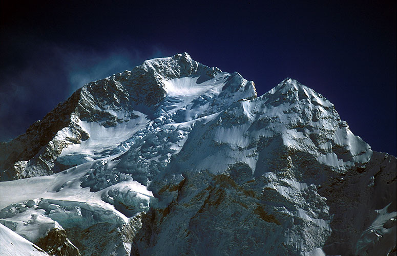 The rarely seen northern side of this incredible mountain, from the Kangshung Glacier.Nikon F5, 180mm, Fuji Velvia 100
