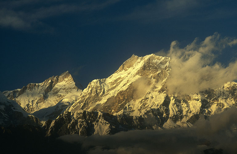 Manaslu (8150m) and Ngadi Chuli (7835m) from the Bara Pokhari Lekh.Nikon FM2, 105mm, Fuji Velvia