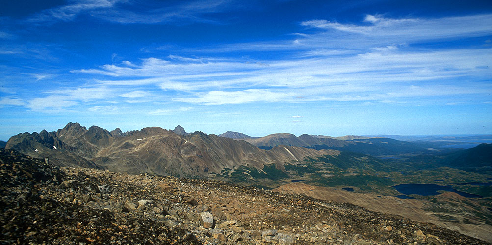 A panorama south-east from an un-named peak in the Montes CodringtonNikon FM2, 24mm, Fuji Velvia