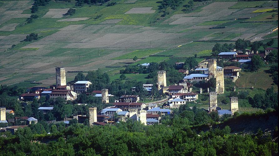 Mestia is the principal town in the Svaneti valley - a de facto autonomous fiefdom in the Caucasus mountains.Nikon F5, 180mm, Fuji Velvia 100
