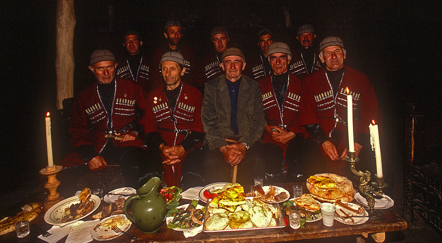 The polyphonic singers of Svaneti, at a supra, or toasting feast, in one of the oldest fortified houses in the village. Not partaking of their fierce home-distilled raki is not an option!Nikon F5, 17-35mm, Fuji Velvia 100