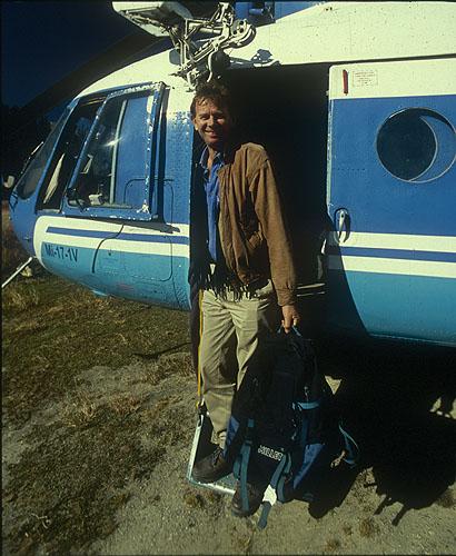 Boarding a helicopter at Simikot for the flight into LimiNikon F5, 17-35mm, Fuji Velvia 100