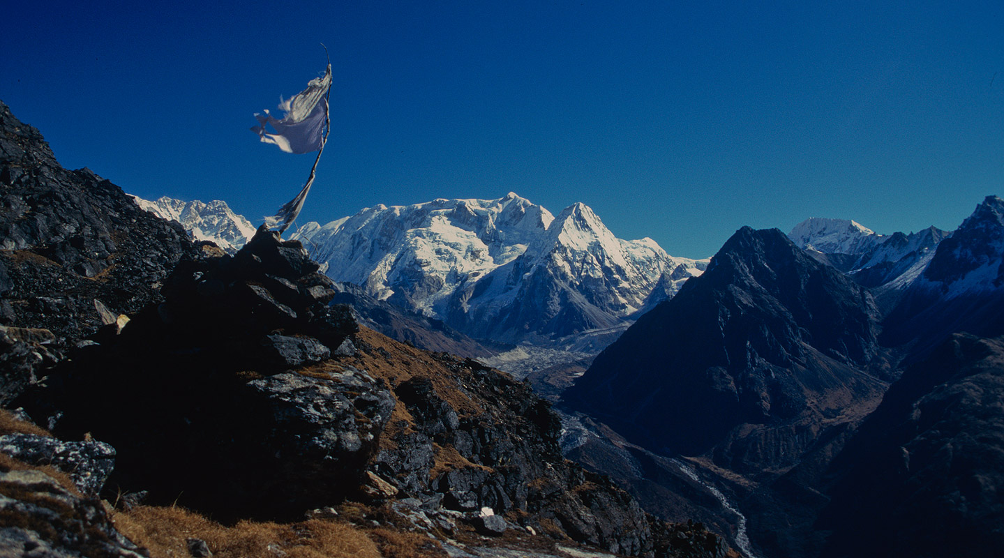 A view over the Yalung glacier, with (L to R) the south face of Kangchendzonga, Talung, Kabru, Rathong and Kokthang peaks.Nikon FM2, 28mm, Fuji Velvia