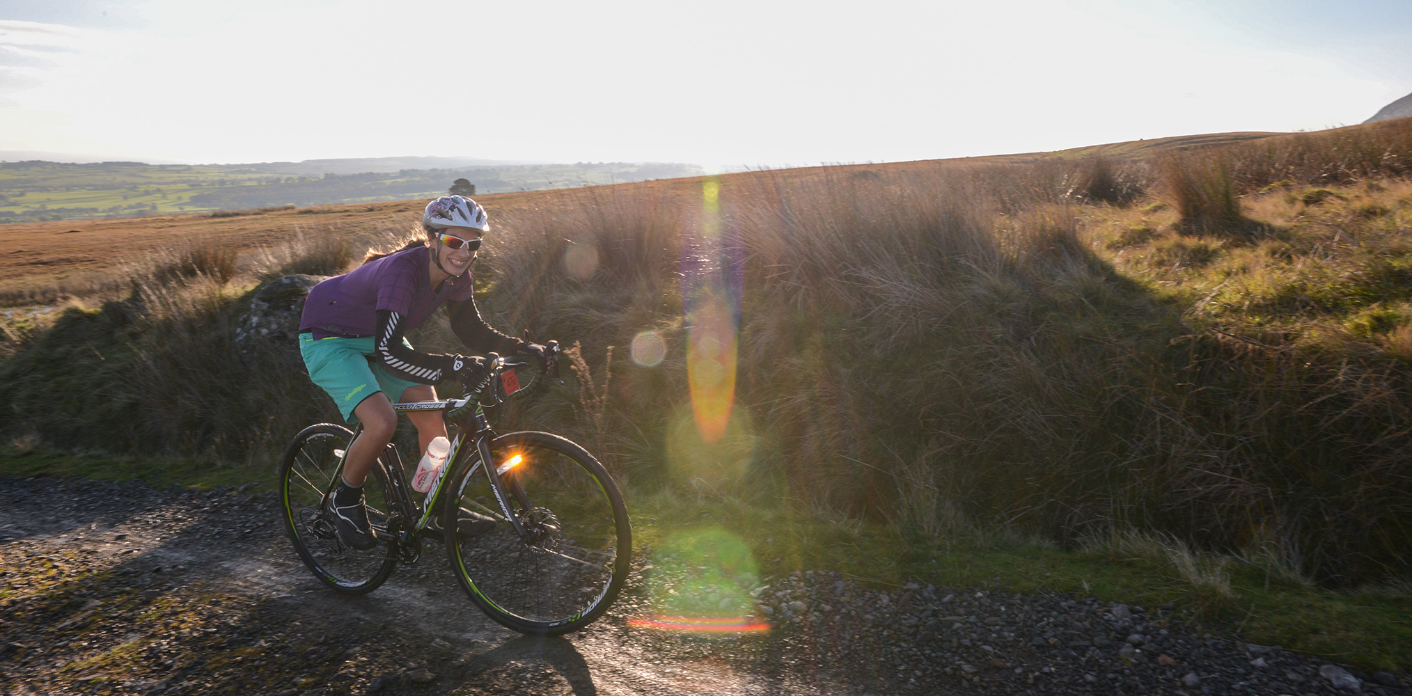 The Monster Miles is a 62 mile (55% off road) Cyclo-Cross Sportive in Cumbria organised by Cycling Weekly and run by Rather Be CyclingHere the leading riders are coming up onto Caldbeck Commons from Mosedale