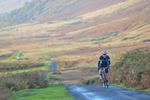 The Monster Miles is a 62 mile (55% off road) Cyclo-Cross Sportive in Cumbria organised by Cycling Weekly and run by Rather Be CyclingHere the leading rider is coming up onto Caldbeck Commons from Mosedale early on a beautiful October morning.