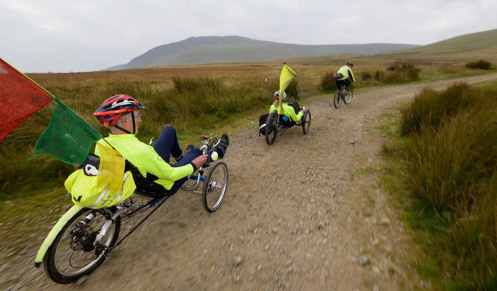 The Monster Miles is a 62 mile (55% off road) Cyclo-Cross Sportive in Cumbria organised by Cycling Weekly and run by Rather Be CyclingThis is Peter {quote}The Slime{quote} Knowles setting off on the Fellside Sector from Calebreck with team mate on recumbant bikes. Hardcore!