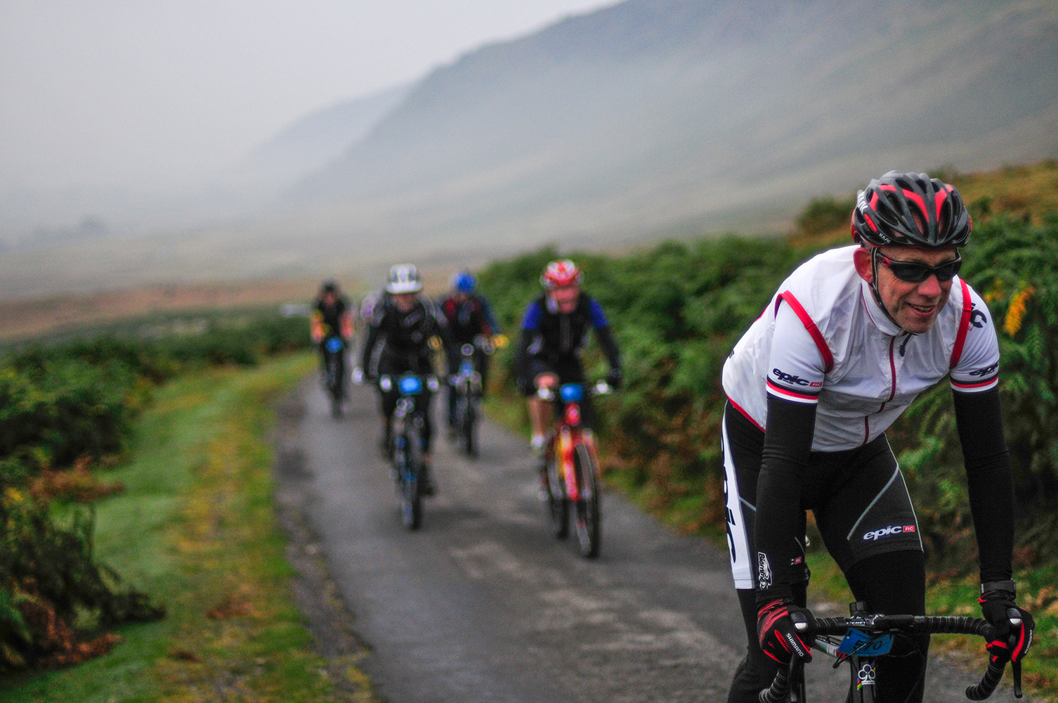 The Monster Miles is a 62 mile (55% off road) Cyclo-Cross Sportive in Cumbria organised by Cycling Weekly and run by Rather Be CyclingHere riders are coming up onto Caldbeck Commons from Mosedale