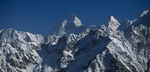 The summits of Nanda Devi (7816m) and Nanda Devi East (7434m) from near Kalgudi Bhel KhalNikon F90X, 180mm, Fuji Velvia