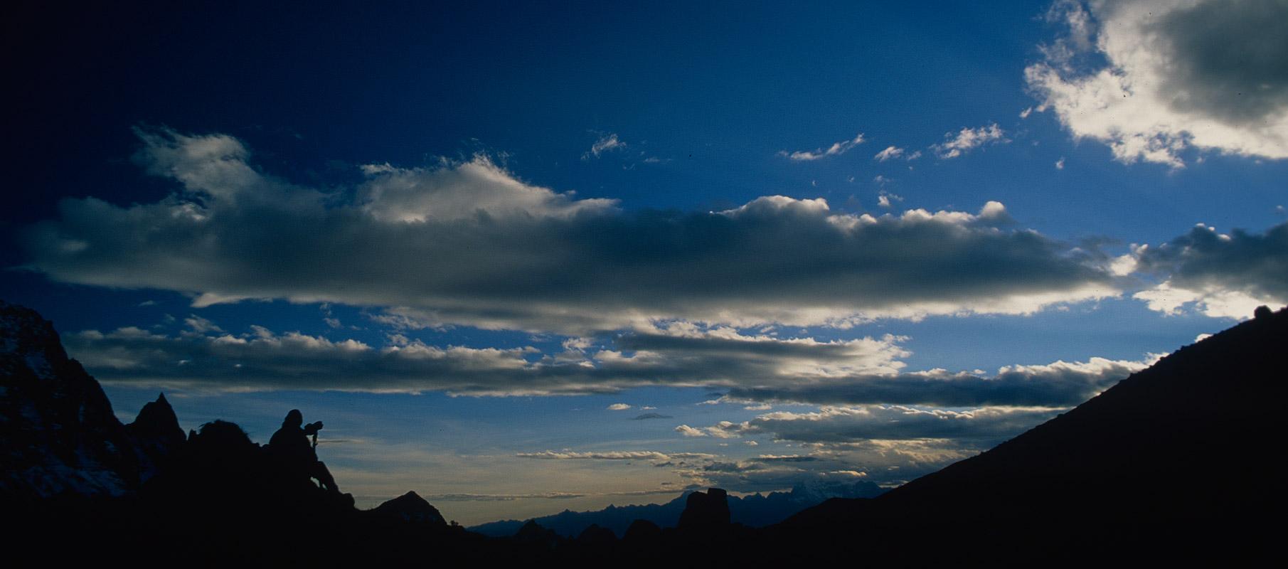 The high camp (4940m) below the western side of the Kanglakarchung or Karakachu LaNikon FM2, 28mm, Fuji Velvia