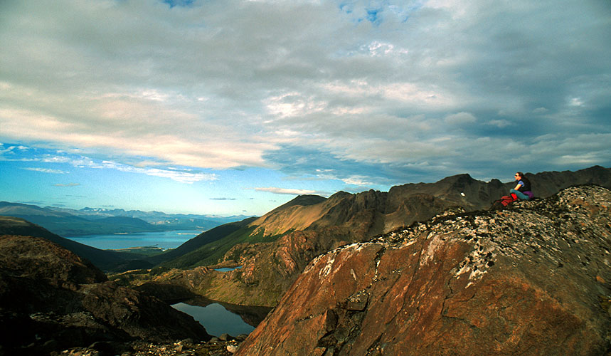 A view north-east from the Dientes de Navarino to Puerto Williams (Chile), the Beagle Channel and - on the horizon - Isla Grande (Argentina)Nikon FM2, 24mm, Fuji Velvia