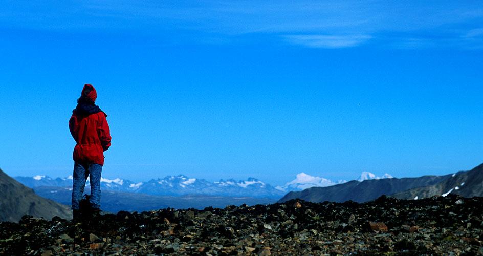 The snow-covered Cordillera Darwin (the highest peaks in Tierra del Fuego), from atop a ridge to the east of Laguna Martillo, Isla Navarino, ChileNikon FM2, 24mm, Fuji Velvia