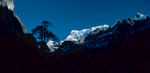 A view up the Barun Valley towards Chamlang and Makalu from this beautiful camping spotCanon A1, 28mm, Kodachrome 64