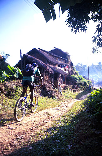 Biking in rural Nepal - the Khali Horseshoe is a 50km day ride from the town of Pokhara, which lies in the shadows of the Annapurna HimalCanon EOS 500, 28-80mm, Fuji Velvia