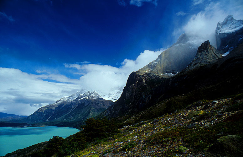 The Cuernos del Paine towering over the lake, from the  Paso Los Cuernos trail.Nikon FM2, 24mm, Fuji Velvia