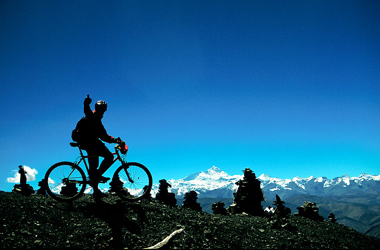 A celebratory picture atop this 5150m pass in Tibet, with the north face of Everest beyondNikon FM2, 24mm, Fuji Velvia