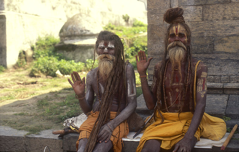 Two splendidly coifured babas at Pashupatinath temple, Kathmandu