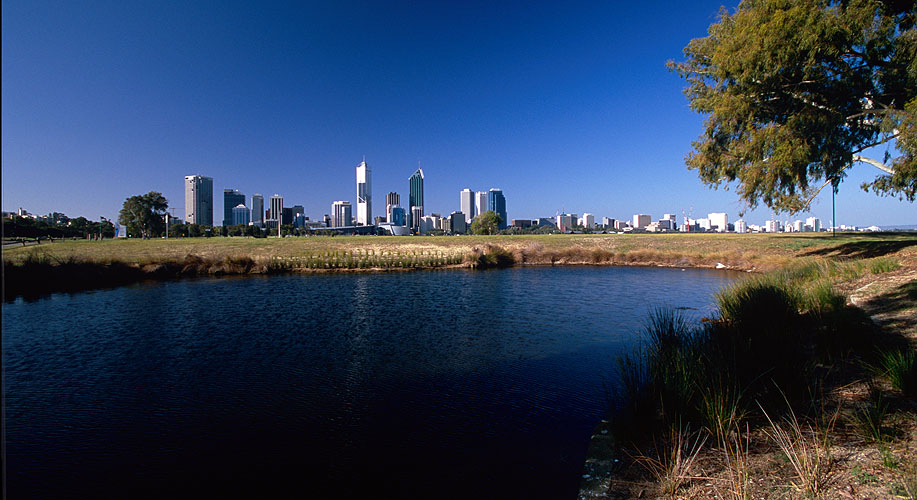The city, seen across the Swan River from South PerthNikon F5, 17-35mm, Fuji Velvia