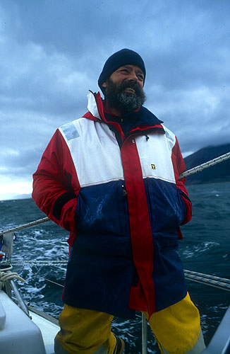 The owner and Captain of the Kekelestion. He regularly charters the boat to adventurers and sails it down to the Antarctic and around Cape HorneNikon FM2, 24mm, Fuji Velvia