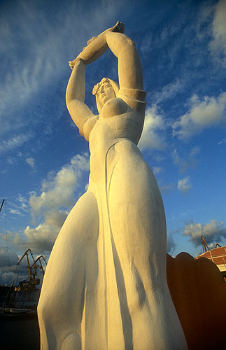 Statue of protective divinity (La Virgen del Carmen?) overlooking the harbourNikon F5, 17-35mm, Fuji Velvia 100
