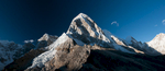 From the moraine of the Khumbu glacier at Gorak Shep. First climbed in1962 by Gerhard Lenser on a German-Swiss expedition, this mountain has become popular with expeditions, in spite of the fact that avalanches have killed so any on its slopes. A stitch of two imagesNikon D300, 17-35mm