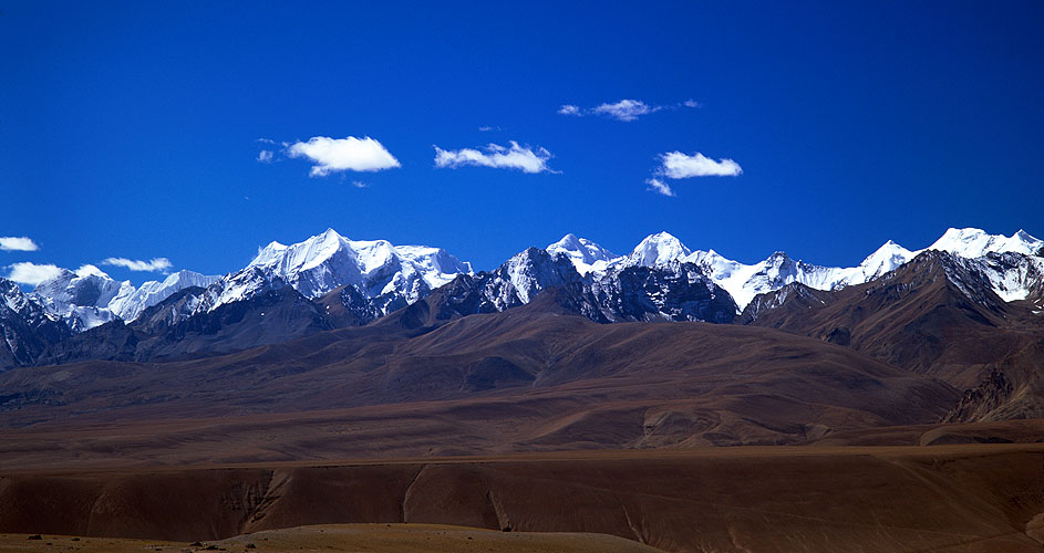A view south to Api, Nampa and Saipal - the most remote peaks in north-west Nepal.  Taken from the road to the Gurla La from Purang, south of Kailas / ManasorovarBronica ETRSi, 150mm, Vuji Velvia