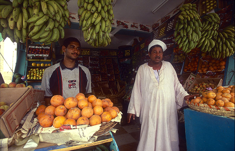 Fruit and vegetables for sale on the Red Sea coastNikon F5, 17-35mm, Fuji Velvia 100