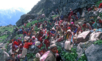 This festival takes place over several days at the remote Raling Gompah, and the folk from villages in the valleys below make their way there in a huge procession. Here a group of Chhetris from lower Humla rest during the long final climb to the monastery.Bronica ETRS, 50mm, Fuji Velvia