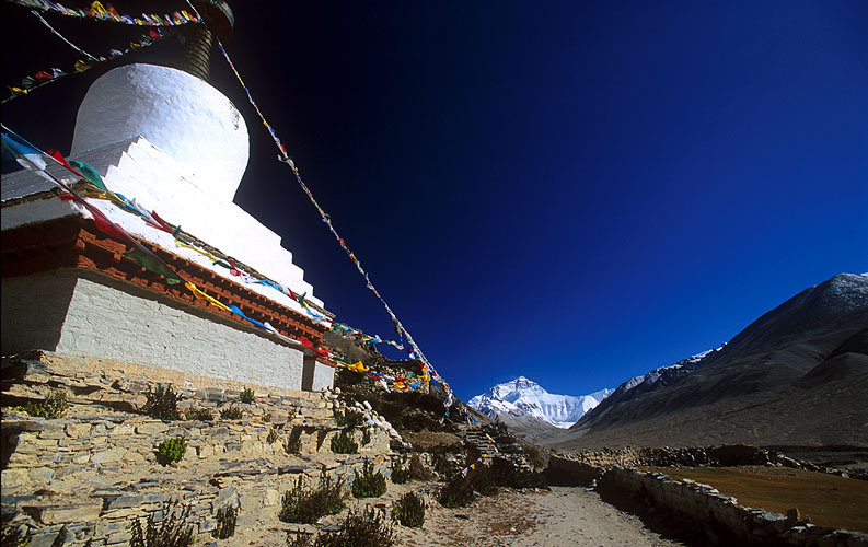 The north face of Everest, seen from Rongbuk Monastery.Nikon F5, 17mm, Fuji Velvia 100