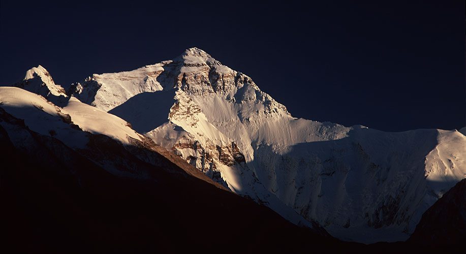 In 1999 NASA announced that the height of the world's most famous mountain was actually 8850m - up 2m from the previously accepted figure of 8848m. This is the north face, seen from the Rogbuk glacierBronica ETRSi, 150mm, Fuji Velvia