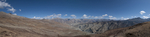 A stitched panorama made from six images.Looking north and east over Saldang in Upper Dolpo
