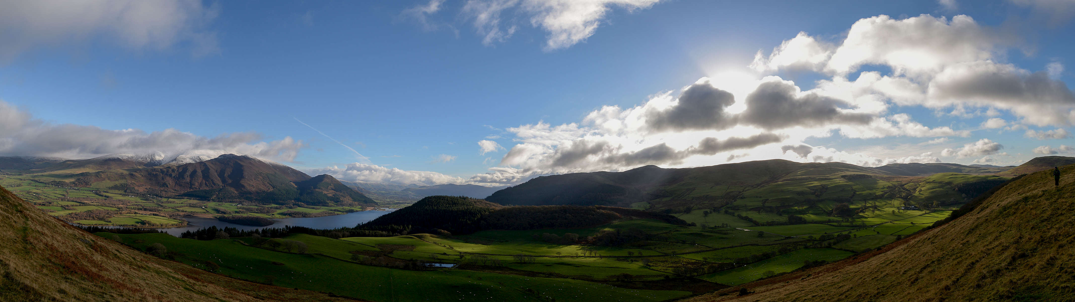 A view looking north and east across Bassenthwaite Lake to Skiddaw and the town of Keswick, from Sale Fell near Cockermouth.A stitch of six images. Nikon D610, 17-35mm