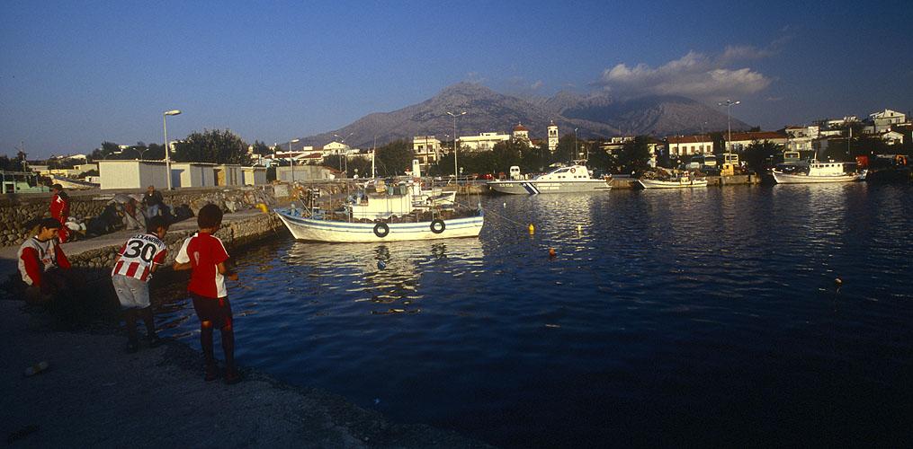 The harbour at KamariotissaNikon F5, 17-35mm, Fuji Velvia 100