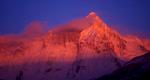 The main summit at sunrise, from the Rio Lacteo.Nikon FM2, 105mm, Fuji Velvia