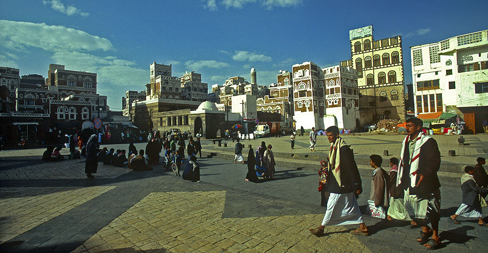 Entering the old city from Bab al YemenNikon F5, 17-35mm, Fuji Velvia 100