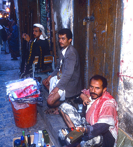 Hawkers in the main suqNikon F5, 17-35mm, Fuji Velvia 100