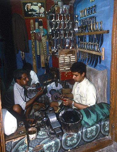 Making djambiyahs (decorative daggers worn by most Yemeni men) in the old suqNikon F5, 17-35mm, Fuji Velvia 100