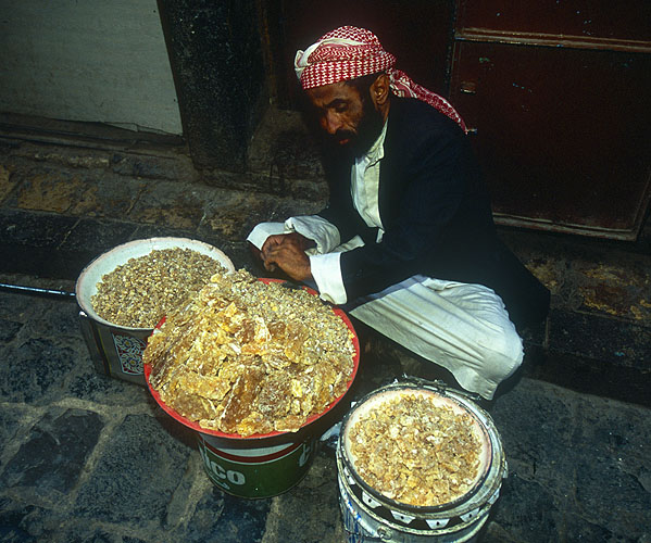Selling frankincense in the main suqNikon F5, 17-35mm, Fuji Velvia 100