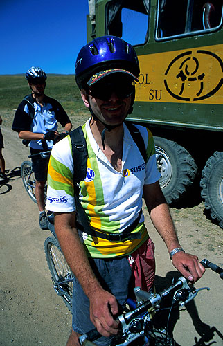 Sasha was made a {quote}Master of Sport{quote} by the old Soviet government, and was a member of the USSR Olympic cycling squad. He now runs the only mountain-bike service workshop in Central Asia (in Alma Aty) and works as a biking guide throughout Kazakhstan.Nikon FM2, 24mm, Fuji Velvia