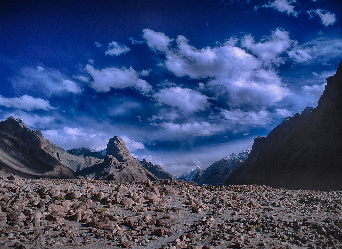 A view up valley towards the Gasherbrum group from the camp our Chinese guides called Qinghongtan, just where the Aghil Nullah enters the valley from the Afghil Pass.