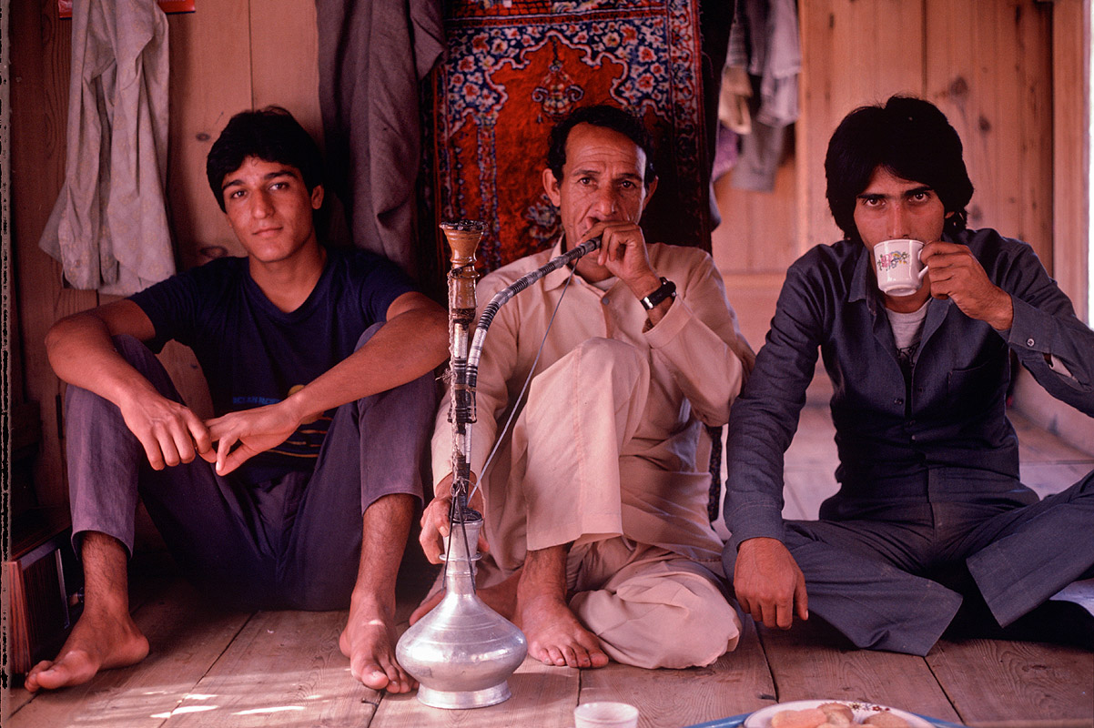 With his son Ayub and a cousin, on the houseboat Rolex, Dal Lake, SrinagarCanon A1, 50mm, Kodachrome 64