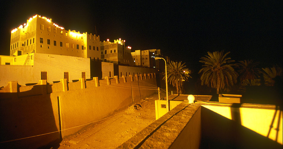 Surely on of the wonders of Arabia, it was Thesiger's monochromes of this place that first kindled my desire to see the Yemen. The 16th century town was gazetted as a World Heritage site by UNESCO in 1982. Here, the multi-storied mud houses that comprise the old town are seen at night from the roof of the government rest-houseNikon F5, 17-35mm, Fuji Velvia 100
