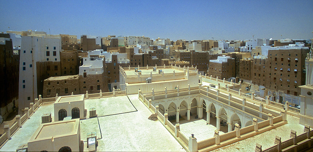 A view over the courtyard of the Grand Mosque from the roof of an adjacent houseNikon F5, 17-35mm, Fuji Velvia 100