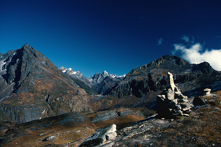 A view towards the Barun Valley and Makalu from the second of the three cols that make up what has become known as the Shipton Pass. In the middle distance is the third col - the Keke La (4150m), and beyond that, the Barun Valley. This crossing became known as the Shipton Pass after Eric Shipton, Ed Hillary & Co came this way after their 1952 Cho Oyu attemptCanon A1, 28mm, Kodachrome 64