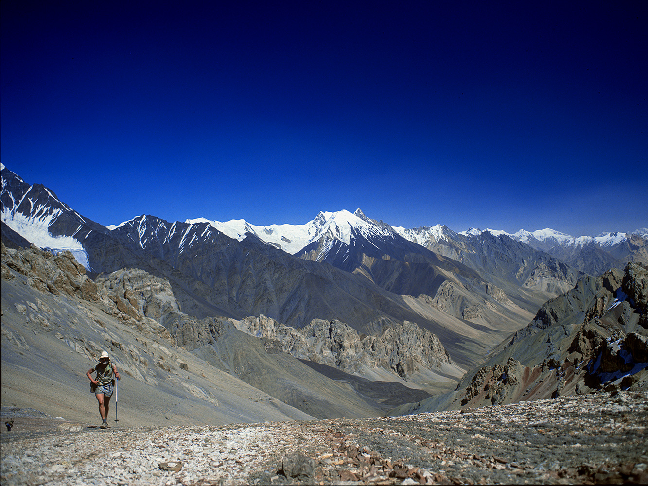 Approaching the col from the north out of the Mai Dur valley on a trek from the Shimshal Pass to the Chapchingal