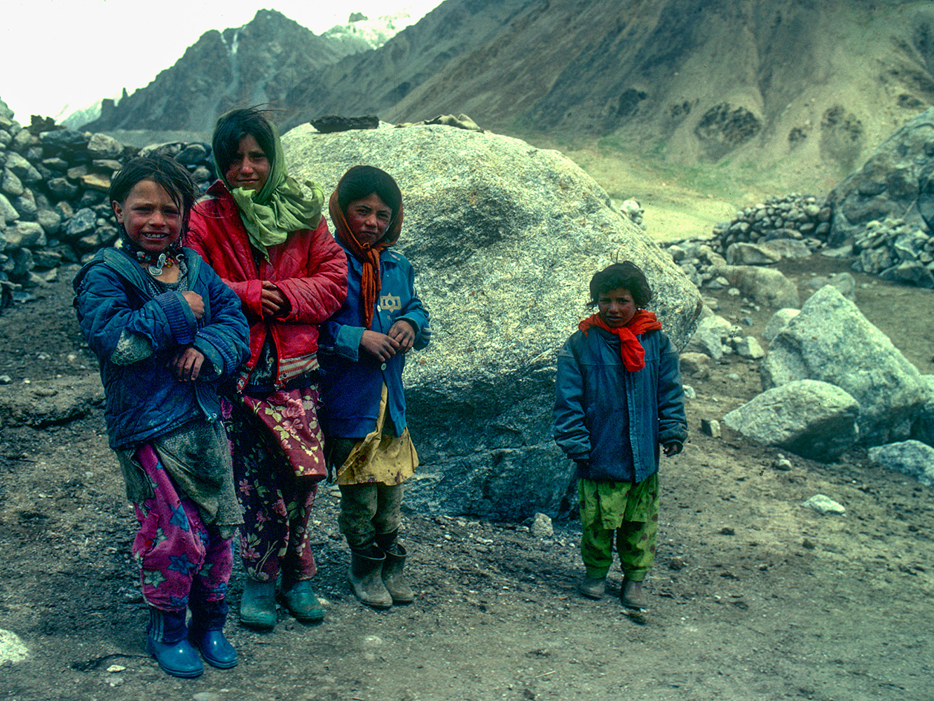 Shimshali kids at Shuwert, the summer grazing settlement on the Shimshal Pass (4650m)