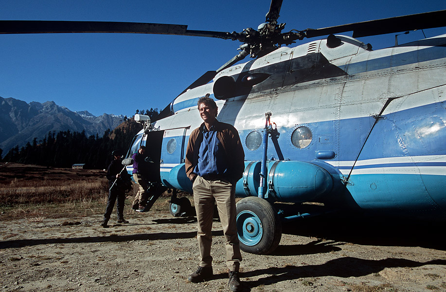 Ready to board the helicopter for our flight from Simikot to LimiNikon F5, 17-35mm, Fuji Velvia 100