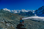Yours truly on the crest of the pass with a view into Lunana beyondNikon FM2, 28mm, Fuji Velvia