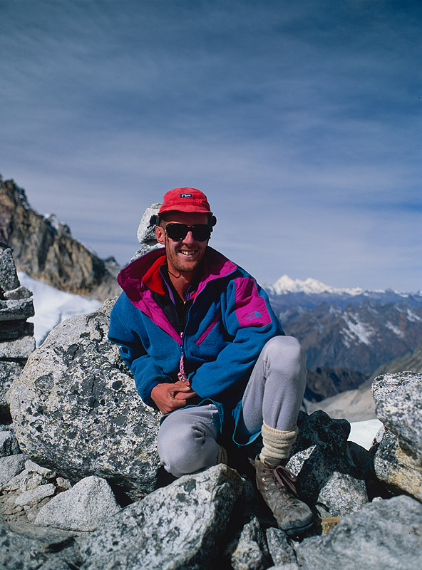 Yours truly on the col in November 1993Nikon FM2, 28mm, Fuji Velvia